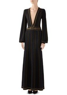 Gucci Metallic Stripe Long Sleeve Maxi Sweater Dress