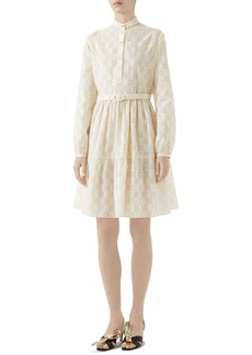 Gucci Micro GG Broderie Anglaise Long Sleeve Dress