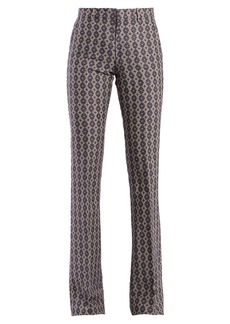 Gucci Mid-rise flared linen-blend jacquard trousers