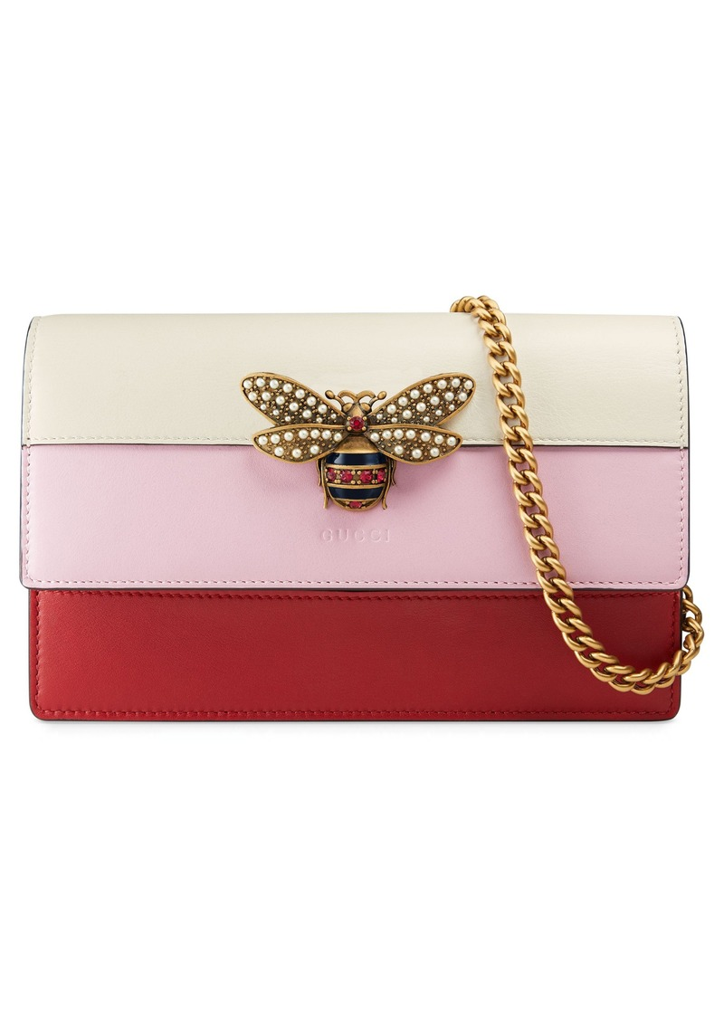 Gucci Mini Bee Multistripe Leather Shoulder Bag