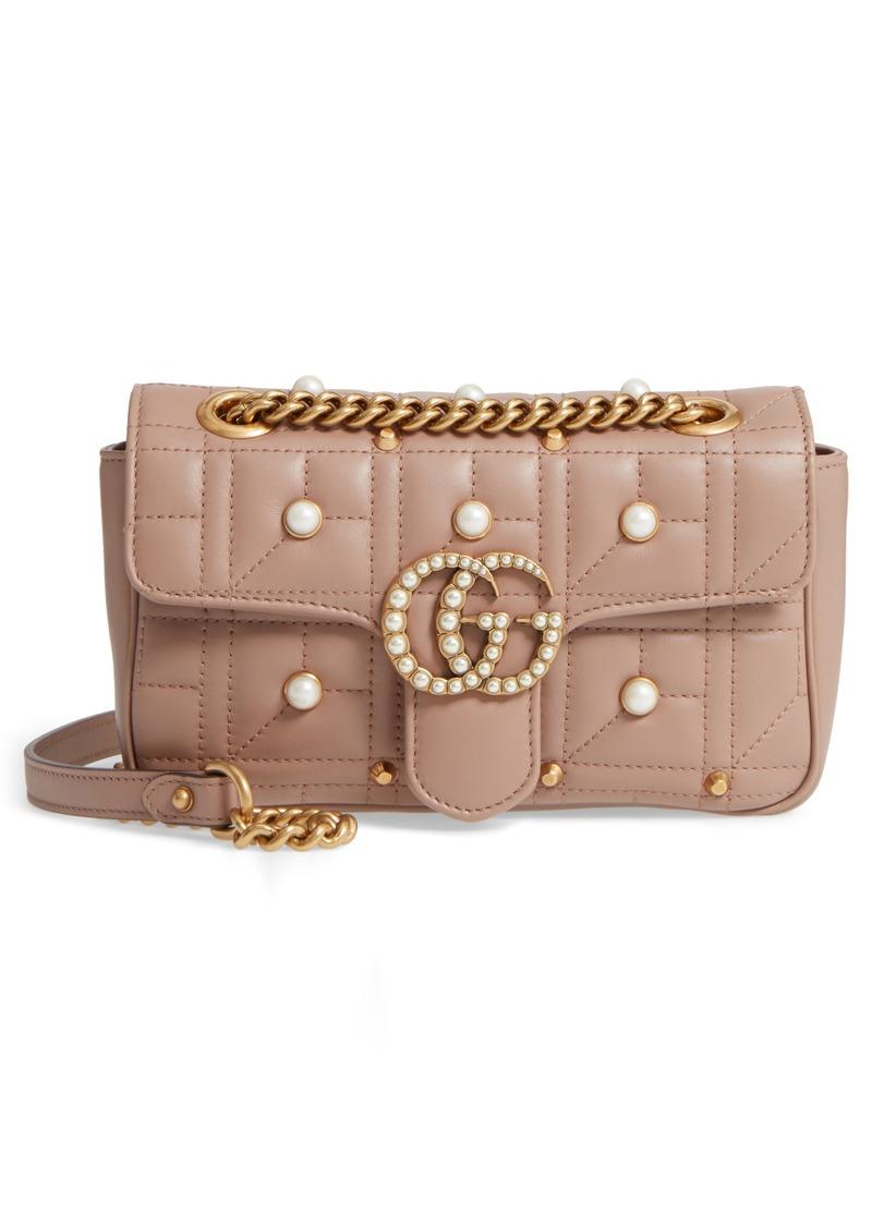 ca04810c906098 Gucci Mini GG Marmont 2.0 Imitation Pearl Logo Matelassé Leather Shoulder  Bag