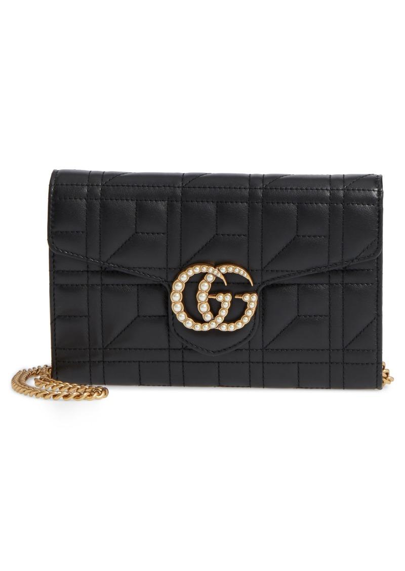 c97a6692c87 Gucci Mini GG Marmont 2.0 Imitation Pearl Matelassé Leather Crossbody Bag