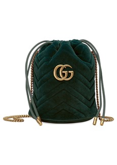 Gucci Mini GG Marmont 2.0 Quilted Velvet Bucket Bag