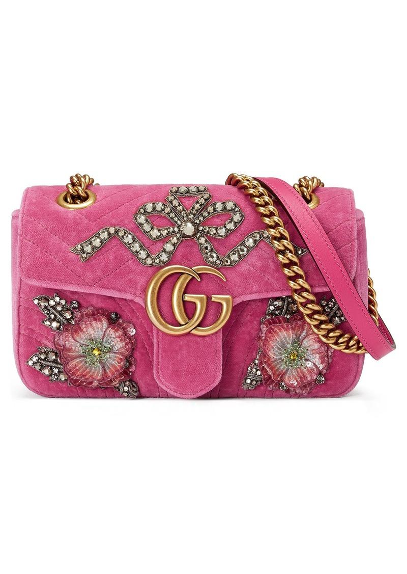f041cef941a26e Gucci Gucci Mini GG Marmont Matelassé Velvet Shoulder Bag   Handbags