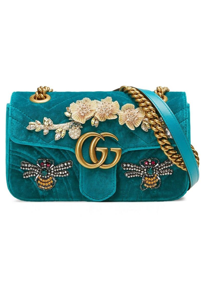11a0879b8f93 Gucci Gucci Mini GG Marmont Matelassé Velvet Shoulder Bag | Handbags