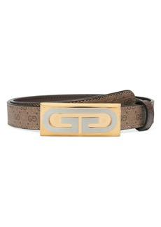 Gucci Mini GG Supreme Logo Plaque Leather Belt