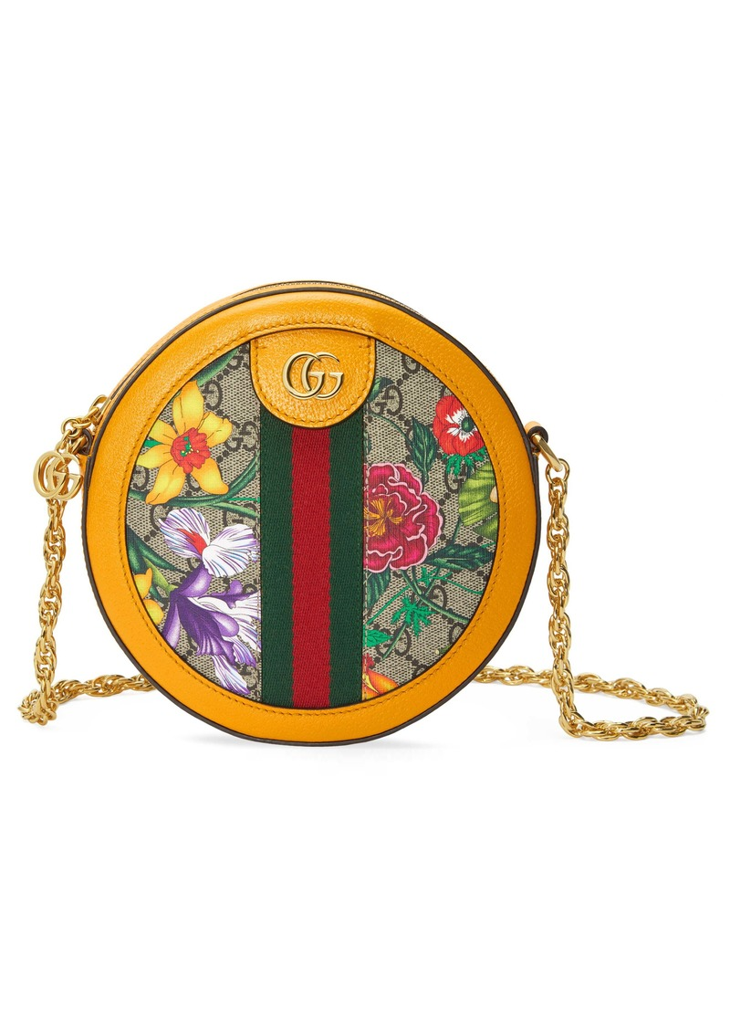 Gucci Mini Ophidia Floral GG Supreme Canvas Crossbody Bag