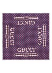 Gucci Logo Polka Dot Modal & Silk Scarf
