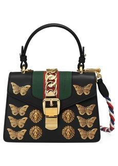 Gucci Mini Sylvie Animal Studs Leather Shoulder Bag