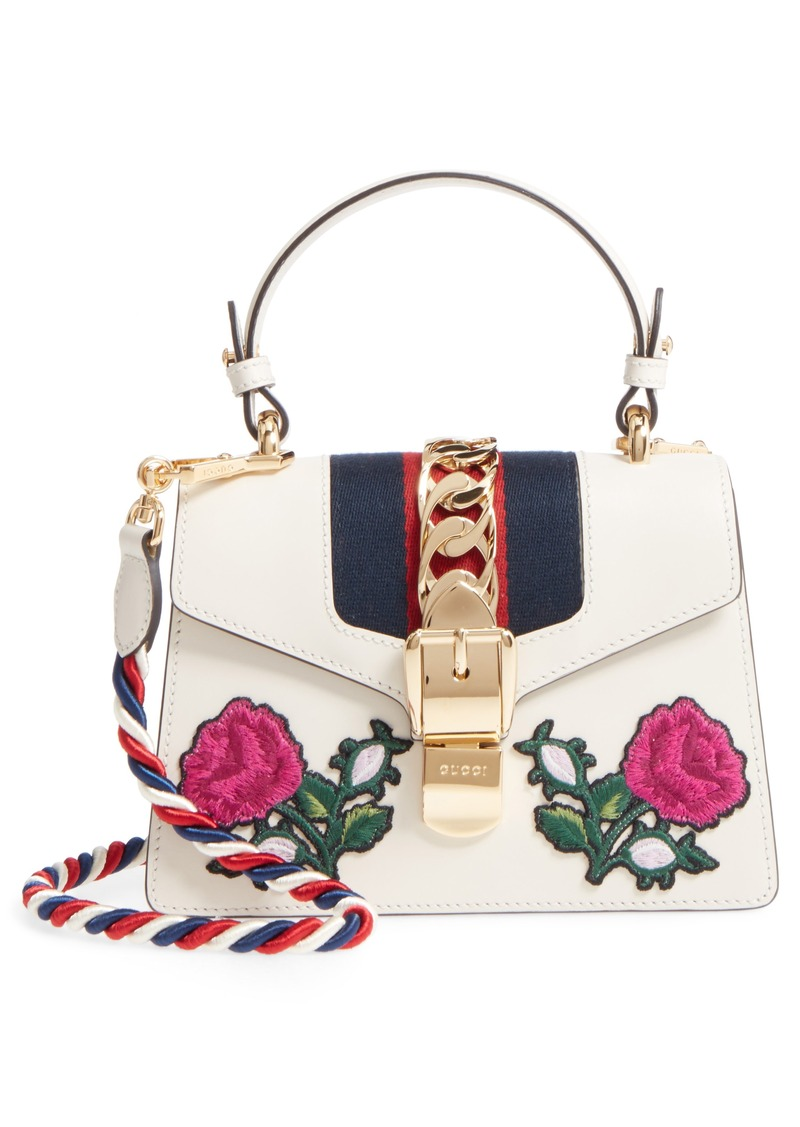 5d54ee6c70 Gucci Gucci Mini Sylvie Embroidered Floral Leather Shoulder Bag ...