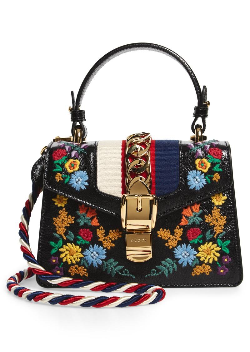 3cd6ec9103a0 SALE! Gucci Gucci Mini Sylvie Flower Embroidery Leather Shoulder Bag