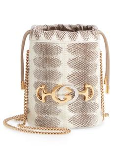 Gucci Mini Zumi Genuine Snakeskin Bucket Bag