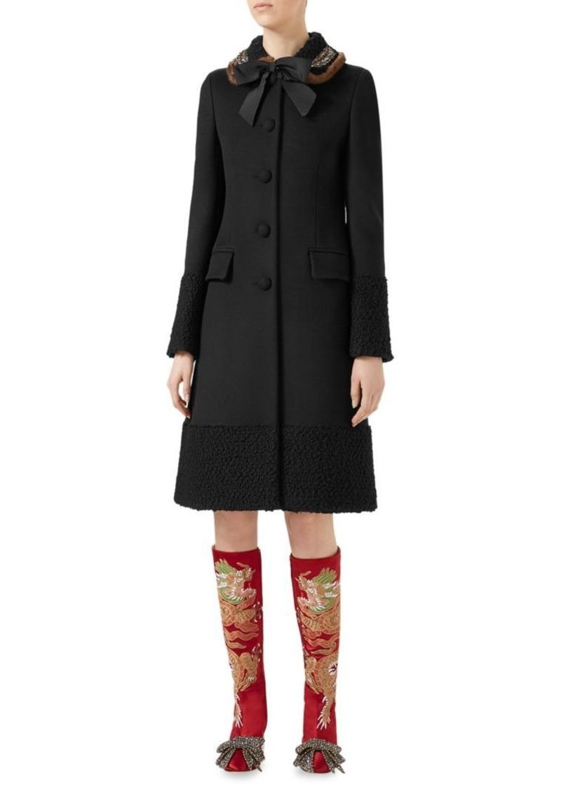 f35645fe Gucci Mink Fur & Wool A-Line Coat | Outerwear