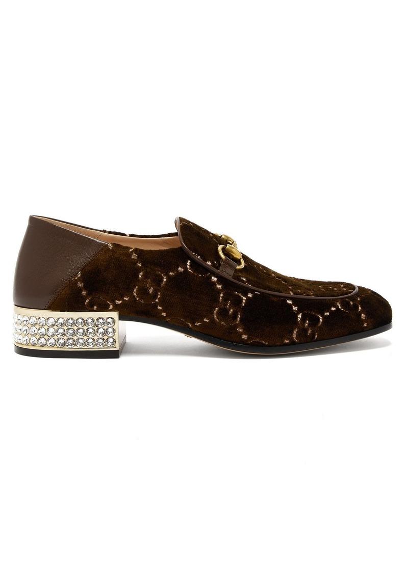 6557c79f592 Gucci Gucci Mister GG crystal-embellished velvet loafers