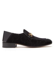 Gucci Mister GG Supreme logo-jacqaurd velvet loafers