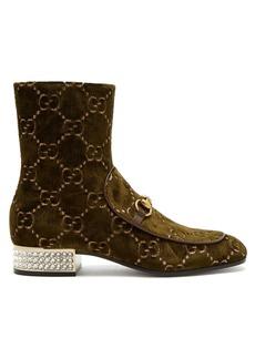 73e279ad0c4c89 Gucci Gucci Mister logo-jacquard velvet ankle boots