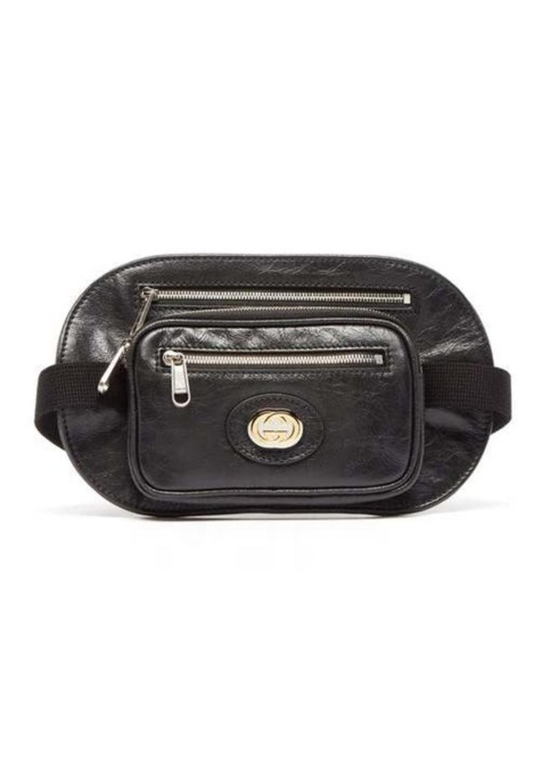 Gucci Morpheus crackled-leather belt bag