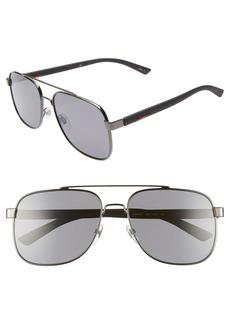 Gucci Navigator 60mm Polarized Aviator Sunglasses