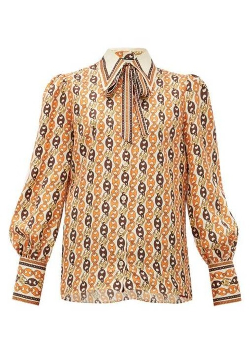 Gucci Neck-tie chain-print silk blouse