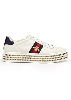 Gucci New Ace crystal-embellished leather trainers