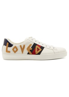 Gucci New Ace embroidered leather trainers