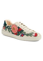 Gucci 'New Ace Embroidered' Sneaker with Genuine Snakeskin Detail (Men)