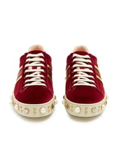 faf80fa025e Gucci Gucci New Ace faux-pearl embellished velvet trainers