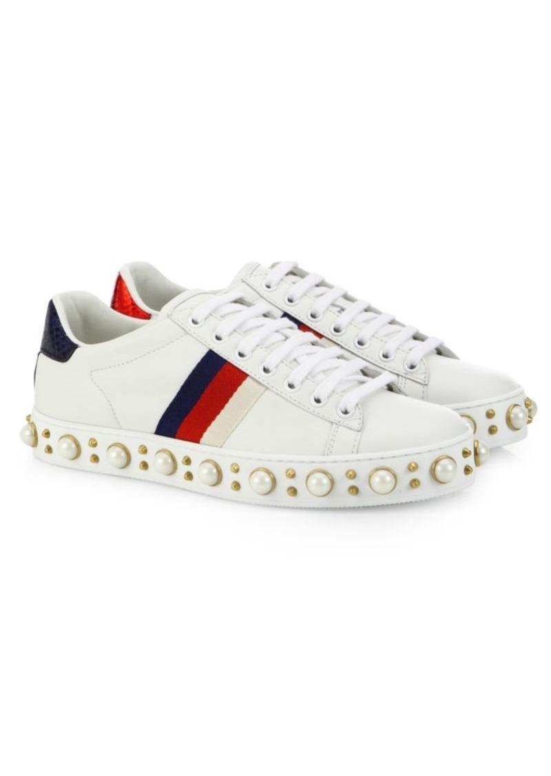 647cb8a66a8644 Gucci Gucci New Ace Faux Pearl Studded Leather Low-Top Sneakers | Shoes