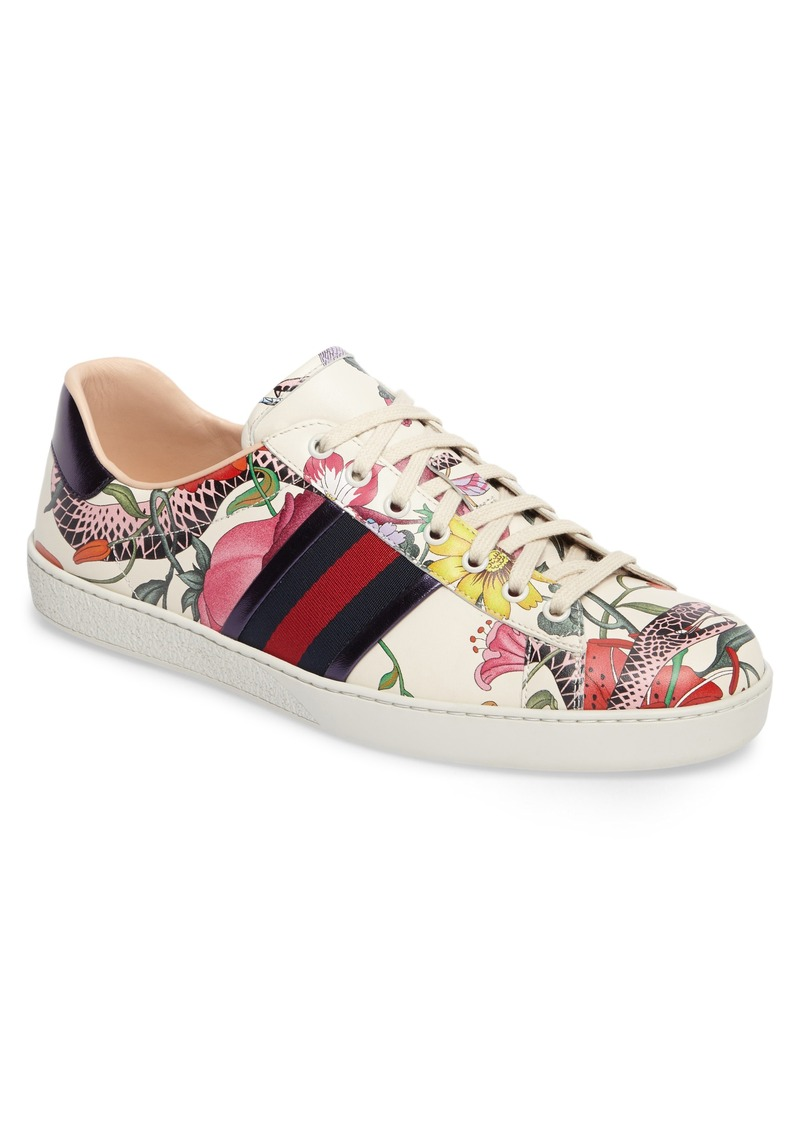 gucci gucci new ace flora snake sneaker  men