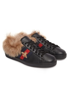 Gucci New Ace Genuine Shearling Trim Sneaker (Men)