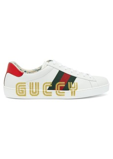 Gucci New Ace glitter-embellished leather trainers