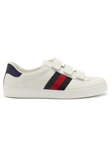 Gucci New Ace Web-stripe low-top leather trainers