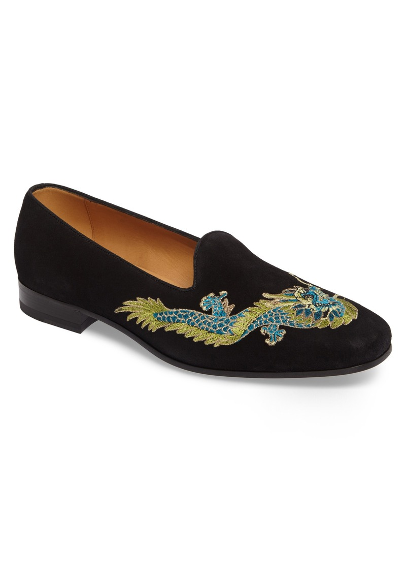 Gucci Gucci Dragon Embroidered Suede Loafer (Men)