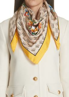 Gucci Night Flower Stripes Foulard Silk Twill Scarf