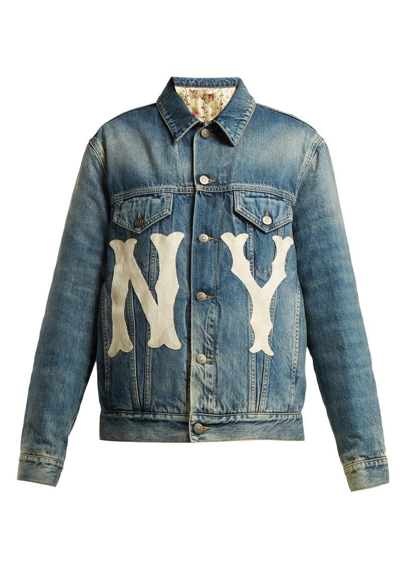 f70d5c2da439 Gucci Gucci NY-embroidered logo-patch denim jacket