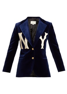 Gucci NY Yankees-appliqué velvet blazer