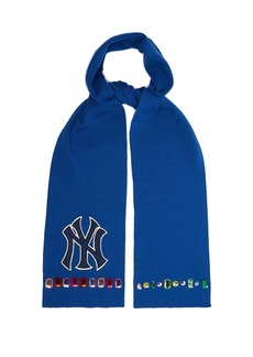 Gucci NY Yankees crystal-embellished wool scarf