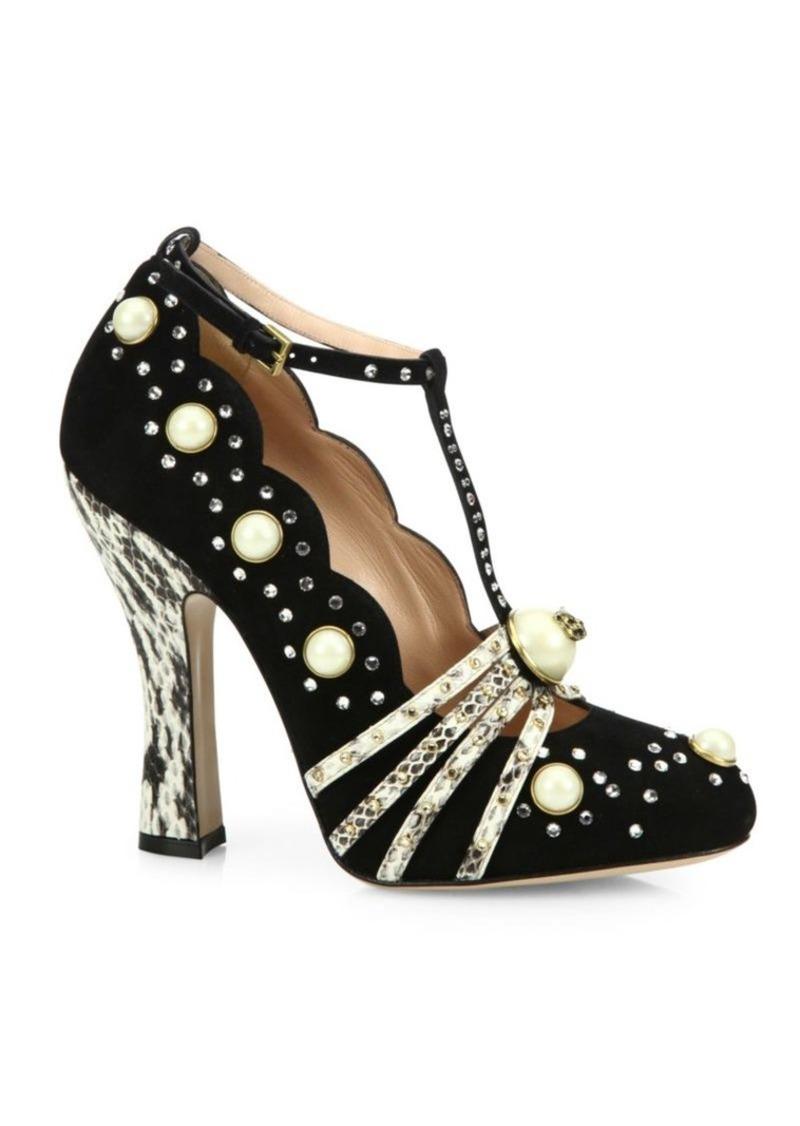 gucci gucci ofelia studded suede pumps shoes shop it to me