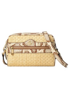 Gucci Ophidia Genuine Snakeskin & Straw Crossbody Bag