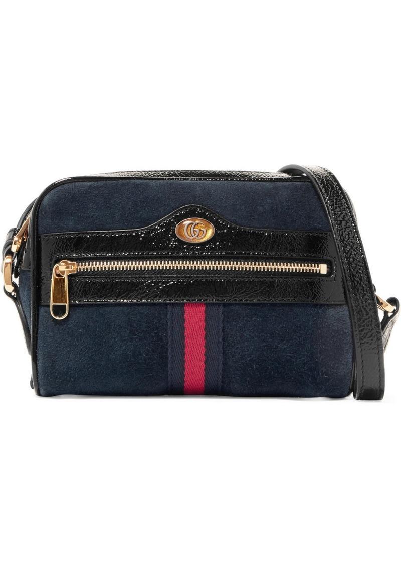 e89952279e7d Gucci Ophidia Patent Leather-trimmed Suede Shoulder Bag   Handbags