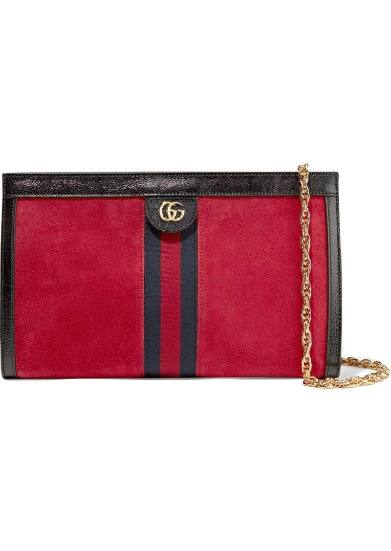 1f4d6c7afa4327 Gucci Ophidia Patent-leather Trimmed Suede Shoulder Bag | Handbags