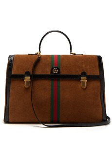 Gucci Ophidia suede and patent leather holdall