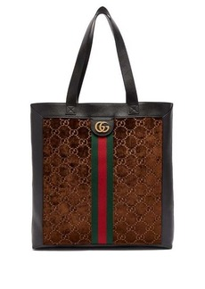 Gucci Ophidia Web-stripe leather & velvet tote bag