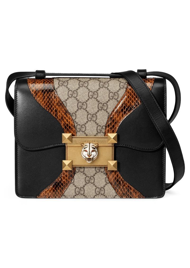 70acaa9367e Gucci Gucci Osiride Genuine Snakeskin   GG Supreme Shoulder Bag ...