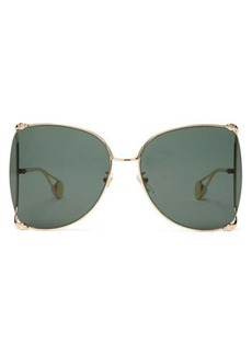 Gucci Oversized butterfly metal sunglasses