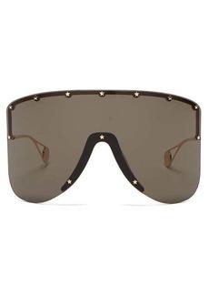 Gucci Oversized mask metal sunglasses