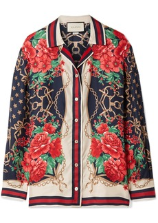 Gucci Oversized Printed Silk-twill Shirt