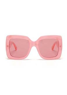 Gucci Oversized square pearlescent-acetate sunglasses