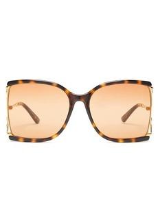 Gucci Oversized tortoiseshell-effect sunglasses