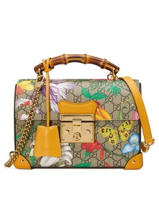 Gucci Padlock Floral Bamboo Handle Canvas & Leather Shoulder Bag